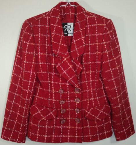 Double Plaid In Kvinder Made Vintage Breasted Usa Rossi Jacket Red 6 Rina F1q0qCWO