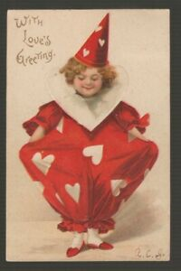 72503-1908-POSTCARD-ARTIST-UNSIGNED-ELLEN-H-CLAPSADDLE-034-WITH-LOVE-039-S-GREETING-034