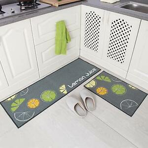 2pc Kitchen Mat Non Slip Rubber Backing Doormat Runner Rug Set Lemon Design
