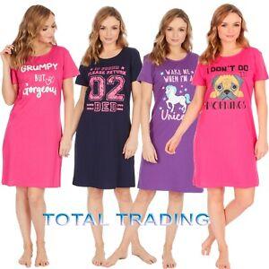 Ladies-Short-Sleeve-Night-Shirt-Nightdress-womens-Nightie-Nightshirts-PJ-PYJAMAs