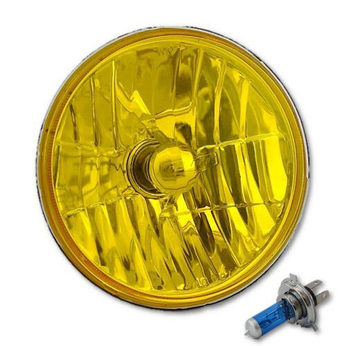 "H6024//6014 7/"" Yellow Amber Crystal Glass Headlight H4 Halogen Fog Light Single"