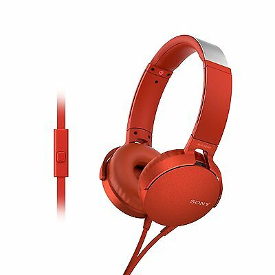 Sony MDR XB550AP | Extra bass | Headphones with Mic | Foldable | Red (SMP4)