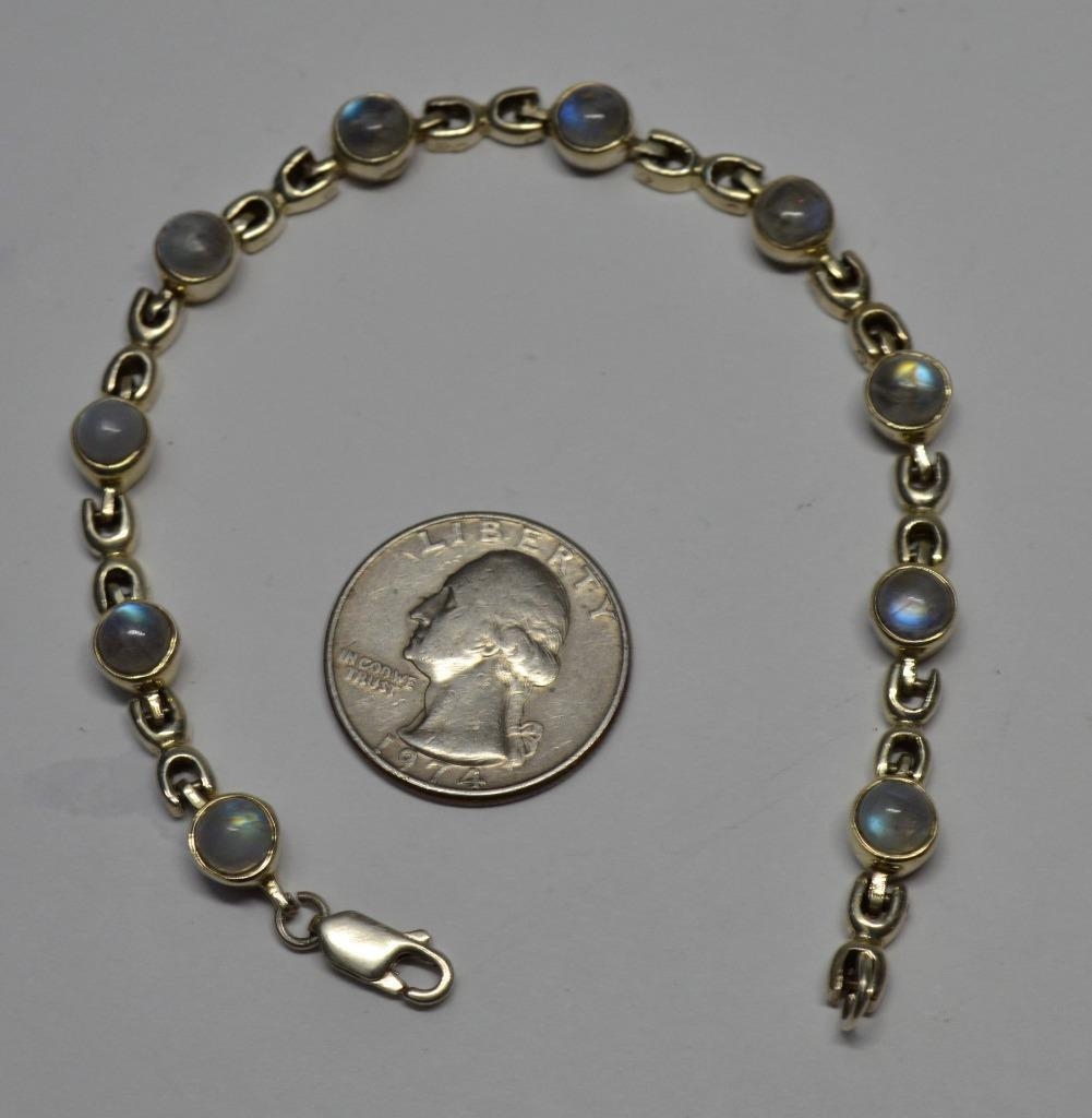 Stamped 925 Sterling Round MOON GLASS 8  x 1 4  Bracelet 16.74g