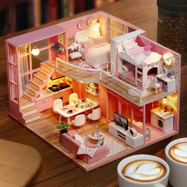 DIY Miniature Loft Dollhouse Kit Realistic Mini 3D Pink Wooden House Toy