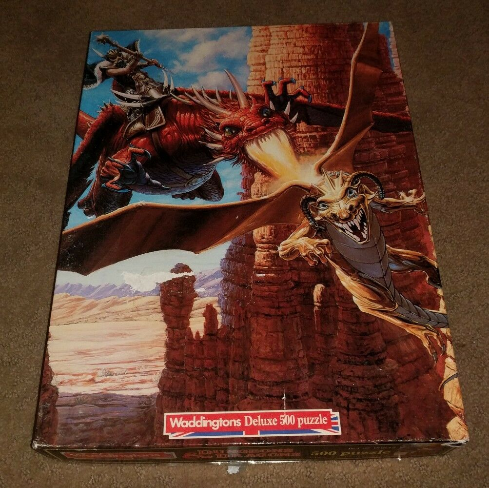 DUNGEONS & DRAGONS CARTOON WADDINGTONS 500 PIECE JIGSAW PUZZLE COMPLETE GAME EUC