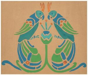 An-Antique-Art-Deco-Wall-Paper-Style-Painted-Parrot-Mural-Painting