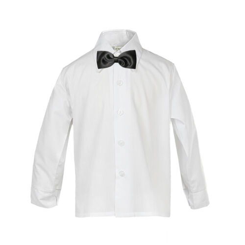 Baby Boy Formal Tuxedo Suit WHITE Button Down Dress Shirt  Black Bow tie SM-4T