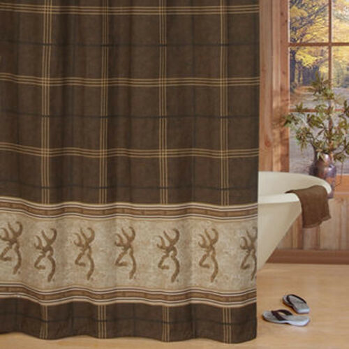 "Browning Buckmark Fabric Shower Curtain 72/"" x 72/"" Original Brown Tan Plaid Bath"