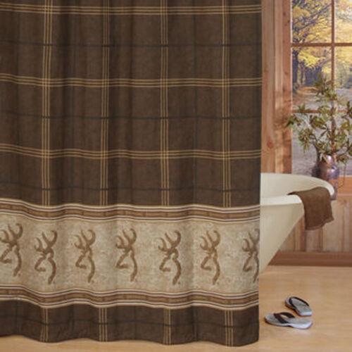 "Browning Buckmark Fabric Shower Curtain 72/"" x 72/"" Original Brown Tan Plaid Bath"