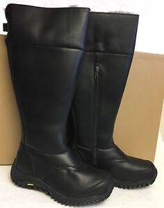 e46cfcea2d9 Details about UGG Australia TALL MIKO BLACK WATERPROOF LEATHER SHEEPSKIN  BOOTS 1012519