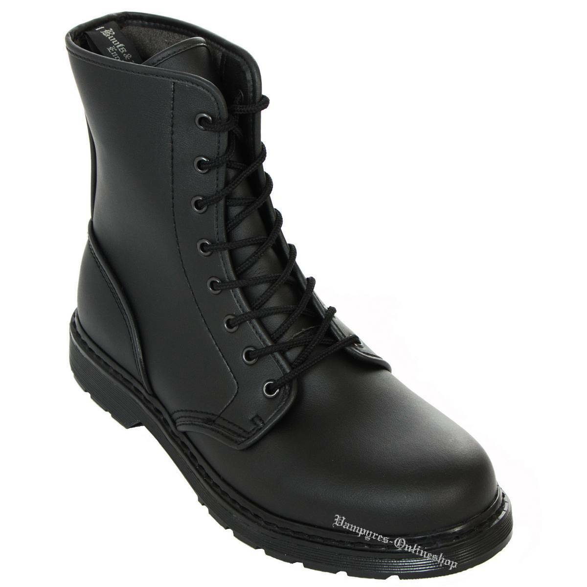 Boots and braces Easy 8 agujeros negro Vegetarian botas de cuero zapatos Noir Nero