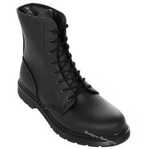 Boots And Braces Easy 8-Loch Vegetarian Schwarz Leder Stiefel Schuhe Noir Nero