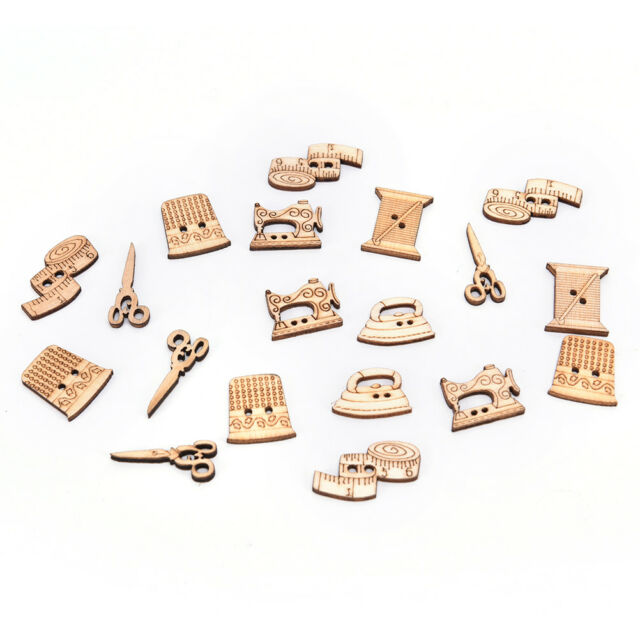 50pcs sewing tool wooden handmade buttons scrapbooking carft for decorationPT