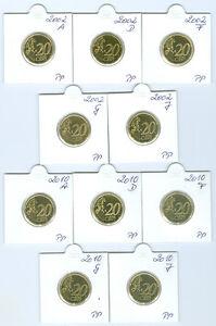 BRD  20 Cent 2002 - 2014 ADFGJ PP komplett  65 Münzen!