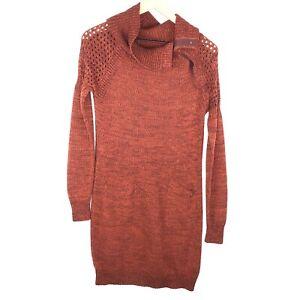 Prana-Women-039-s-Size-Medium-Archer-Sweater-Dress-Long-Sleeve-Cowl-Neck-Red