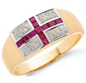 9ct-Yellow-Gold-St-George-Flag-Ring-Men-039-s-Ring-Size-V-UK-Jewellers