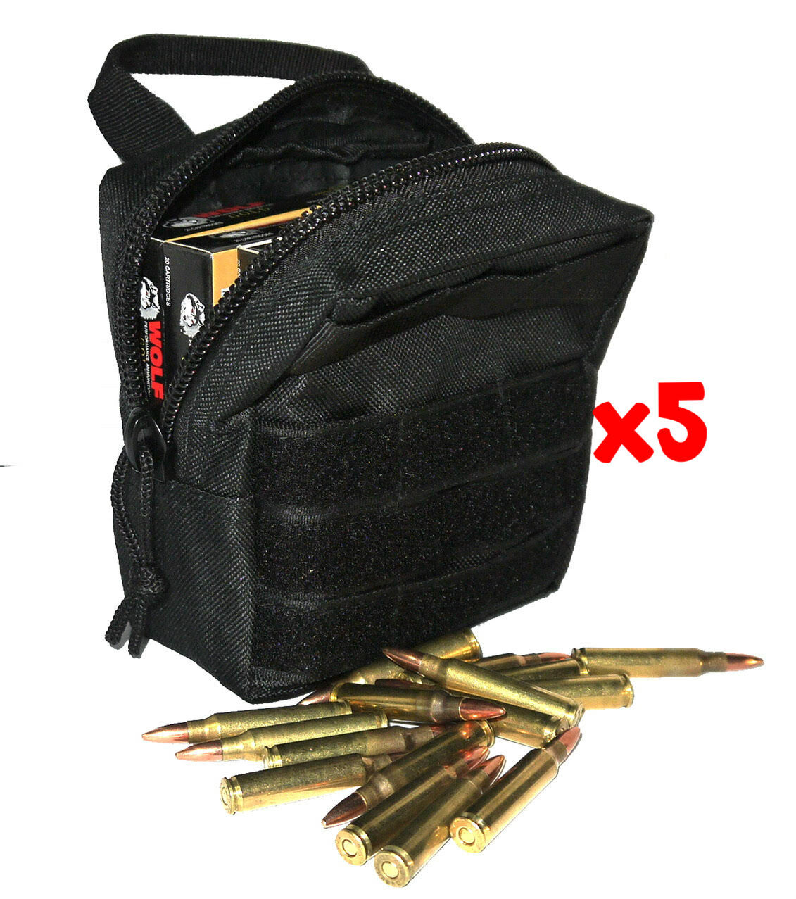 (5) .223 REMINGTON AMMO MODULAR MOLLE UTILITY POUCHES FRONT HOOK LOOP STRAP