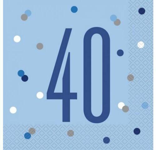 Party Supplies Decorations Happy 40th Birthday *NEW BLUE GLITZ* Age 40
