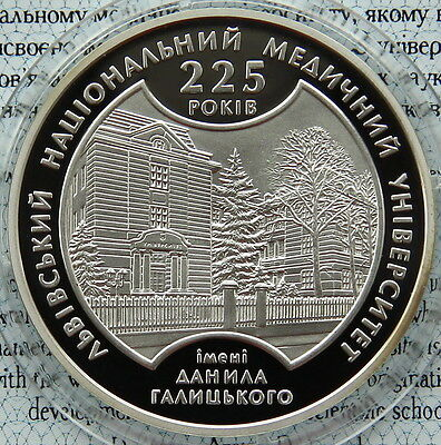 KM# 549 LVIV MEDICAL UNIVERSITY Ukraine 2009 Silver 1//2 Oz Proof 5 Hryvnia Coin