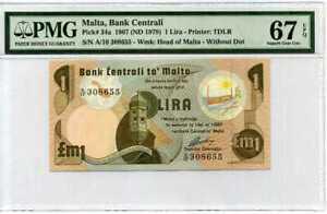 Malta 1 Lira 1967 / 1979 P 34 A Superb Gem UNC PMG 67 EPQ TOP POP