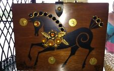 Vintage Signed Enid Collins of Texas Wood Box Bag Purse Jeweled Horse