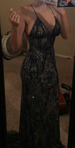 Jovani Navy Blue prom dresses long