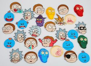 Rick and morty series characters heads iron on embroidery for Rick and morty craft list
