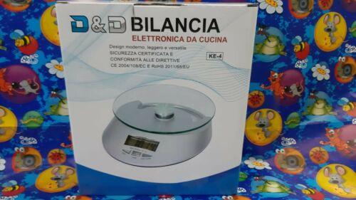 BILANCIA DA CUCINA DIGITALE PRECISIONE DA 1GR A 5KG CON RIPIANO IN VETRO QE-KE-4
