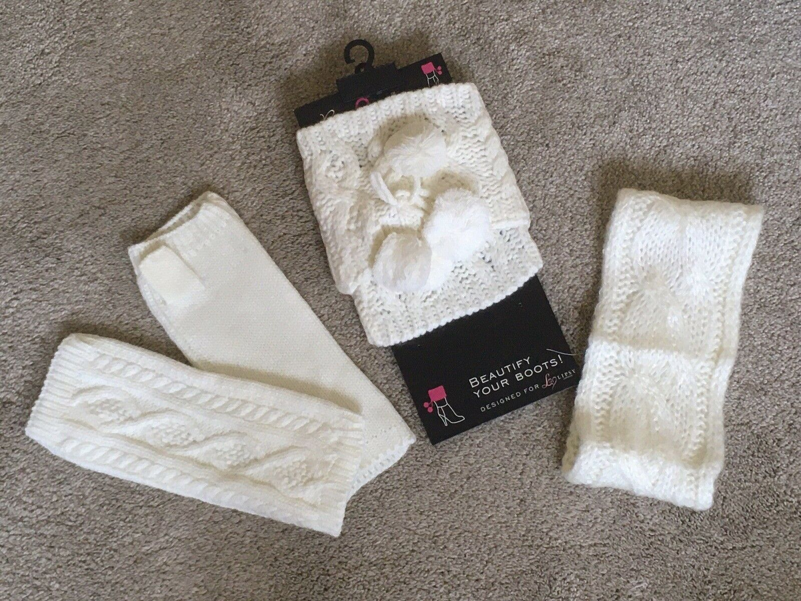 Ivory Cable Knit Pom Pom Boot Cuffs, Fingerless Mitts And Headband Lipsy BNWT