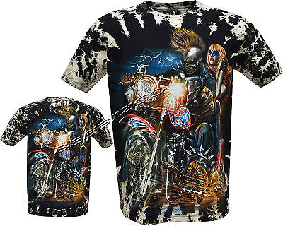Grim Reaper Biker Blond Lady Glow In The Dark Tattoo Tye Dye T 3XL Shirt M