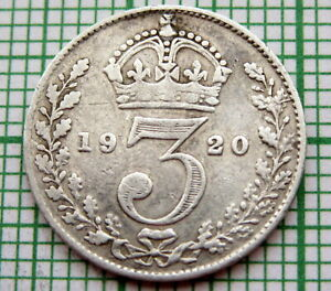 GREAT-BRITAIN-GEORGE-V-1920-THREEPENCE-3-PENCE-SILVER