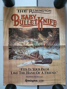 Vintage Remington Gun Co. Bullet Pocket Knife Hunting Display Advertising Poster
