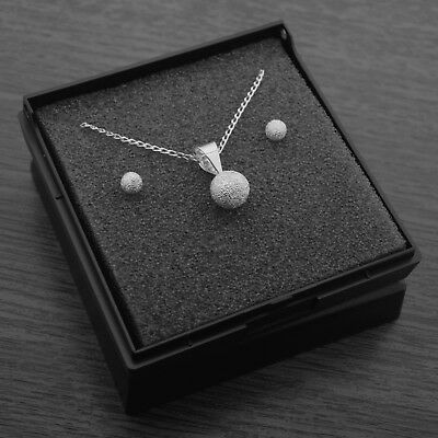 Genuine 925 Sterling Silver Frosted Ball Necklace & Earring Set with Gift Box