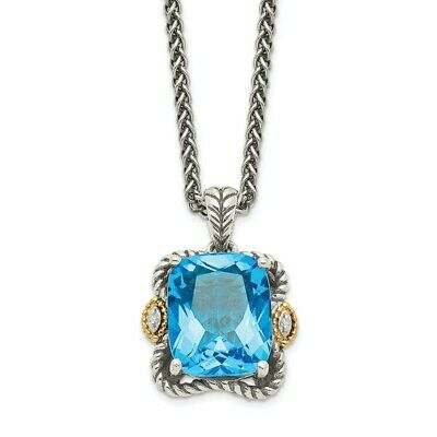 """Blue Topaz and Diamond 18/"""" Necklace .925 Sterling Silver 0.01 Ct Shey Couture"""