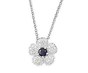 Flower-with-Blue-Sapphire-CZ-Necklace-Sterling-Silver-925-Jewelry-16-inch-1-034