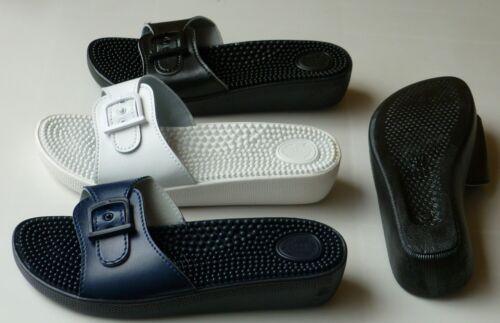 Pantolette Badeschuh Gr: 35-42 blau weiß,schwarz. Sanitaria Damen Massage