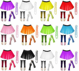 1980/'s UV Neon Set 3 Layer Ladies TuTu Skirt+Necklace+Bangles+Fishnet+Leg Warmer