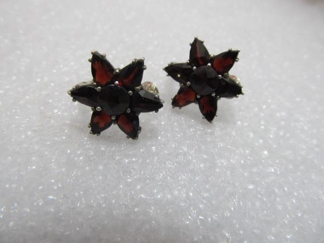 Estate Vintage-Antique Bohemian Marquise –pink-Cut Garnet Earrings