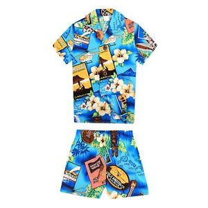 Boy Toddler Aloha Shirt Set Shorts Beach Hawaii Cruise Luau Cotton Yellow Sunset
