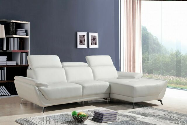 White Grey Living Room Sectional Sectionals Sofa Chaise 2pc Set Modern Couch For Sale Online Ebay