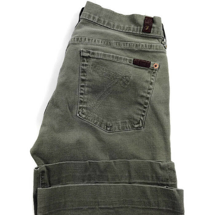 7 For All Mankind Womens 28 Green Dojo Stretch Flare Jeans