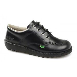 Kickers Niño Negro Detalles Con Cuero Zapatos Lo Niña J Júnior Cordones Colegio Core De Ibfgvm6yY7