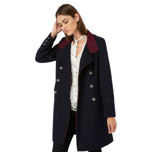 13b7ed2bd7aba8 Monsoon Navy Maya Militare Eppaulette Trench Cappotto di Lana lungo ...
