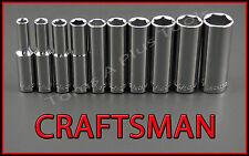 "CRAFTSMAN HAND TOOLS 10pc LOT 1/4"" Dr DEEP 6pt SAE ratchet wrench socket set !"