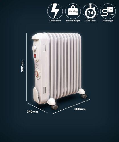 Thermostat with Timer Schallen Oil Filled Radiator 2500W 11 Fin Heater BLACK