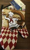 Fat Chef Printed Kitchen 13 Large Oven Mitt, Chef W/tray