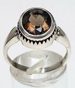 925-Silber-Ring-mit-Rauchquarz-Fischpunze-Hersteller-034-TH-034-RG-57-18-1mm-A439
