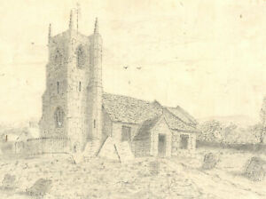 Early 20th Century Graphite Drawing - Countryside Church