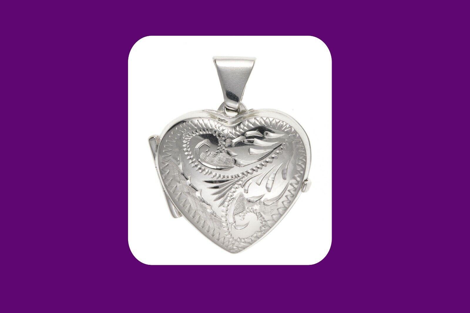 argentoo Sterling Cuore Medaglione 15mm inciso design design design 925 Hallmark tutte le lunghezze 2cf7ad