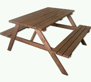 5ft garden picnic table wooden table brown new 02 picnic 140cm top - <span itemprop=availableAtOrFrom>Grantham, United Kingdom</span> - 5ft garden picnic table wooden table brown new 02 picnic 140cm top - Grantham, United Kingdom